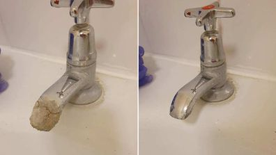 Woman brings her crusty, limescale covered taps back to life with simple hack