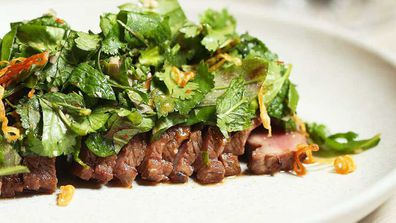 Thi Le's lamb backstrap with jungle mix and smoked rice powder recipe