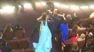 Poor Liza Minnelli. First Ellen calls her a man in drag, then she's too short to make it into the epic selfie (Twitter - @benfritz)