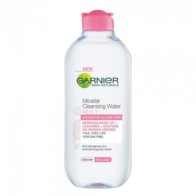 "<p><strong><a href="" https://www.priceline.com.au/garnier-micellar-cleansing-water-400-ml"" target=""_blank"" draggable=""false"">GARNIER&nbsp;Micellar Cleansing Water</a></strong>, $13.99</p> <p>""Before I go to bed every night I use miscellar water. I pop some on a little eyepad and wipe it off.""</p> <p>&nbsp;</p>"