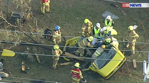 The man was transported to Royal Melbourne Hospital by ambulance. (9NEWS)