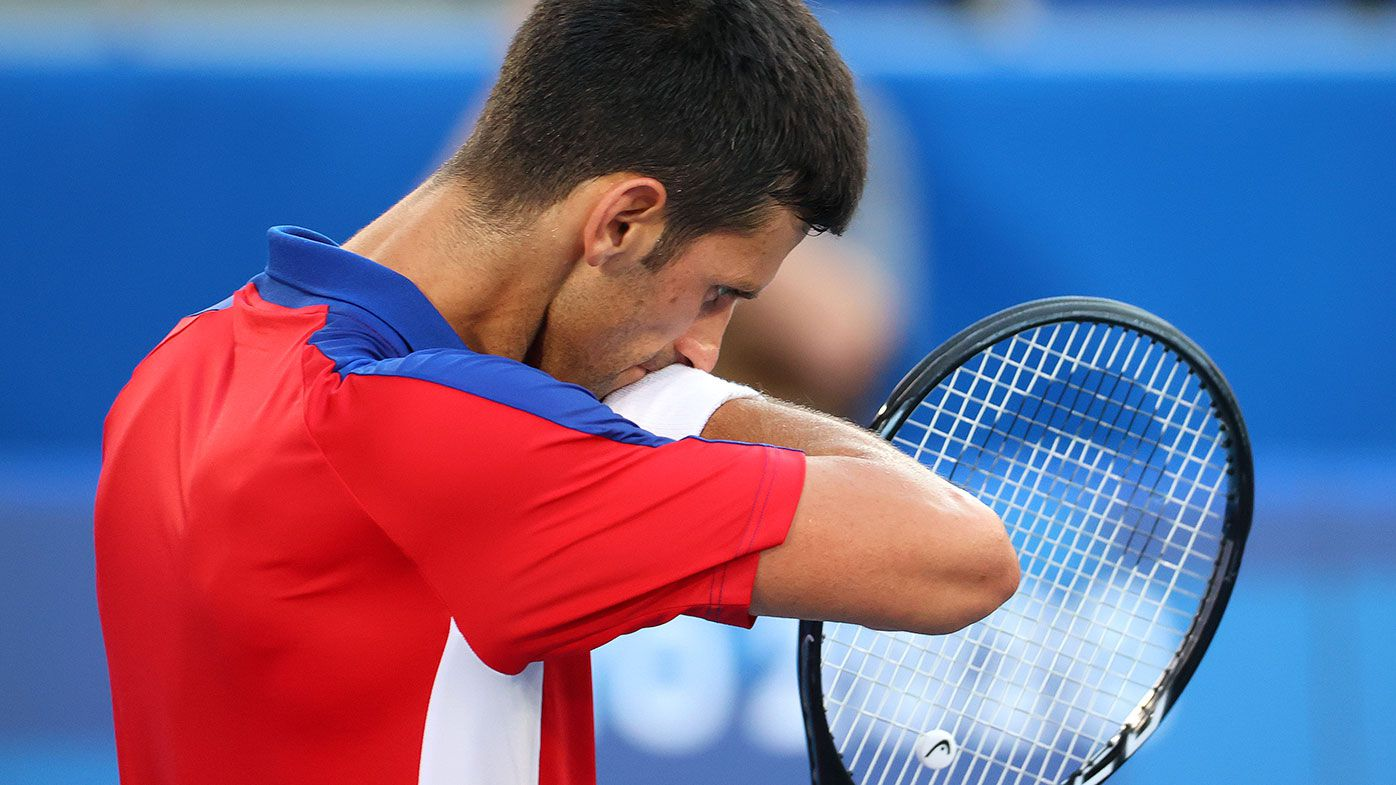 Novak Djokovic during his loss to Spain's Pablo Carreno Busta in the bronze medal match at the Tokyo Olympics.