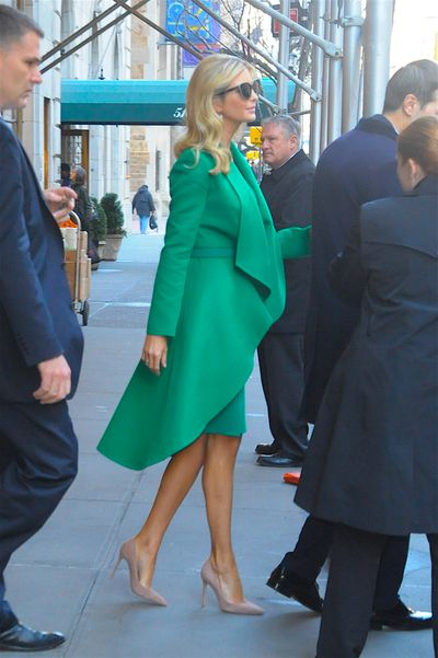 The dress was fitted, emphasising Ivanka's tiny waist. It featured oversized ruffle lapels and a tulip-shaped, dropped hem.