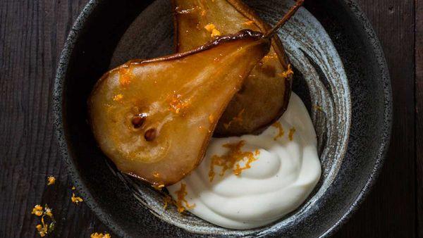 Vanilla roasted pears with yogurt courtesy of Heilala Vanilla