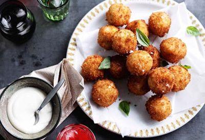 Provolone piccante arancini with thyme and garlic aioli