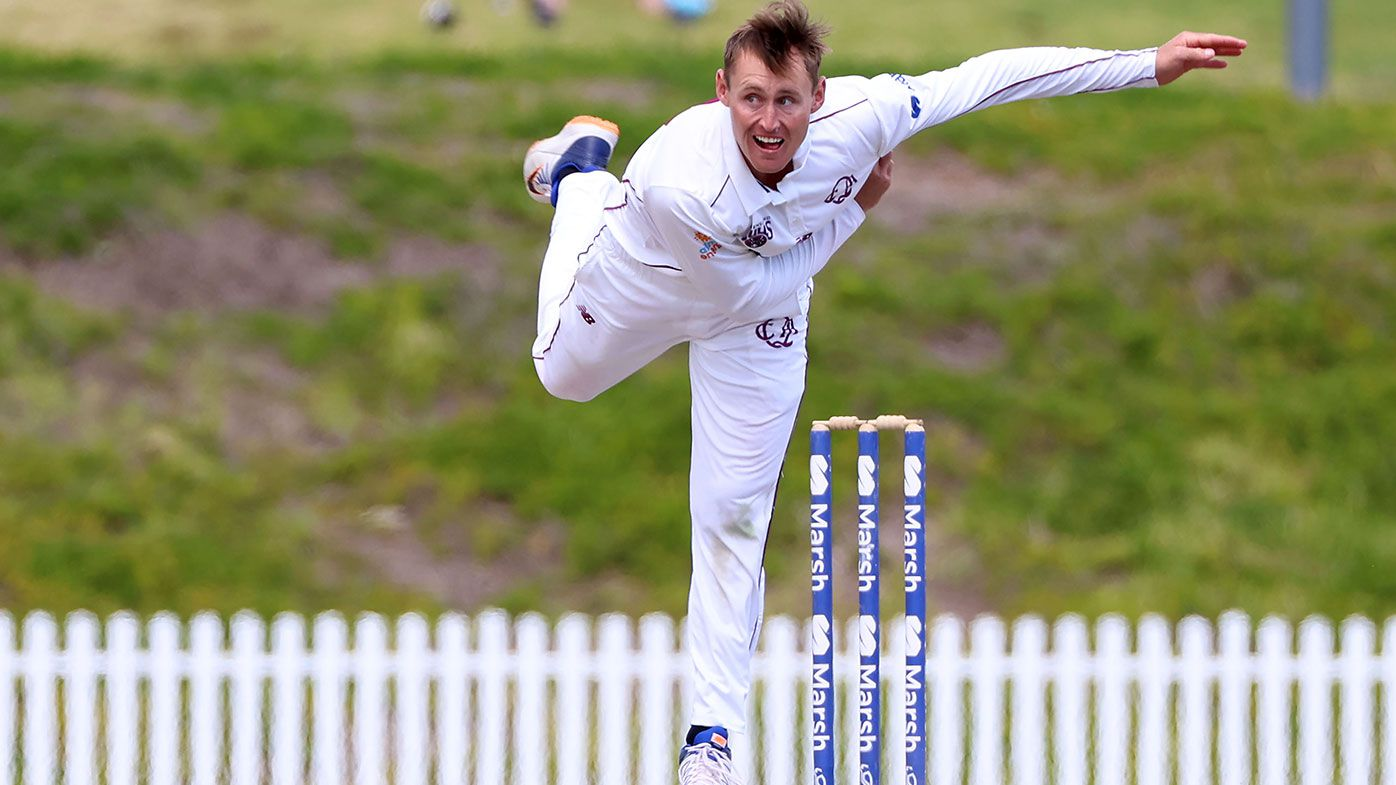 Marnus Labuschagne of the Queensland Bulls bowls during day four of the Sheffield Shield match between Queensland and Tasmania