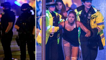 A survivor is carried out of Manchester Arena, while armed police stand guard. Credit: Joel Goodman/LNP and AFP