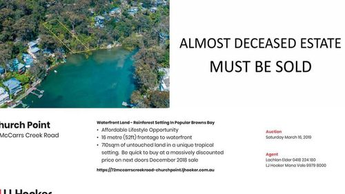 Pieter Hoekstra published a tongue-in-cheek advert for a property he wants to sell in the Northern Beaches.