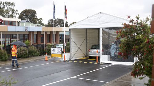 A pop up Covid-19 testing site at East Preston Islamic School after a cluster of cases was found.