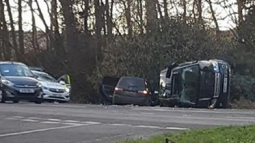 Prince Philip's Land Rover ended up on its side.