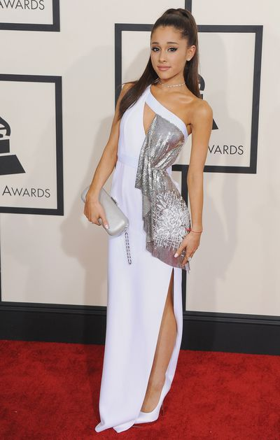 Ariana Grande in Versace at the Grammy Awards in Los Angeles, January 2015