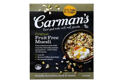 Carman's Original Fruit-Free Muesli: Almost a teaspoon of sugar
