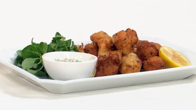 Anchovy beignets with gribiche