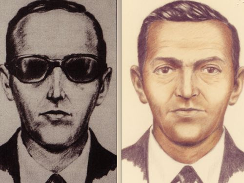 The sketch of DB Cooper shows a man in a suit who wore a thin tie and dark sunglasses.