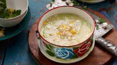 "Recipe: <a href=""http://kitchen.nine.com.au/2016/05/16/15/33/chicken-sweet-corn-and-rice-soup"" target=""_top"">Chicken sweet corn and rice soup</a>"