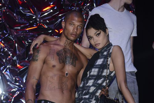 Shirtless Meeks posing up a storm backstage in Milan last year. Picture: AP