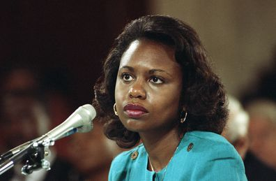 Anita Hill sits for trial for the infamous Thomas-Hill hearings of 1991. Hills testified against the nomination of Clarence Thomas to the Supreme Court.