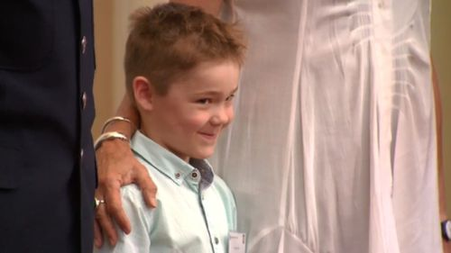 Little hero, James Tonks. (9NEWS)