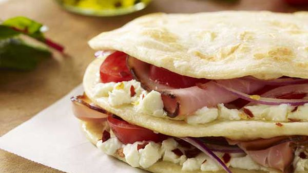 Ham and goat's cheese snack stack