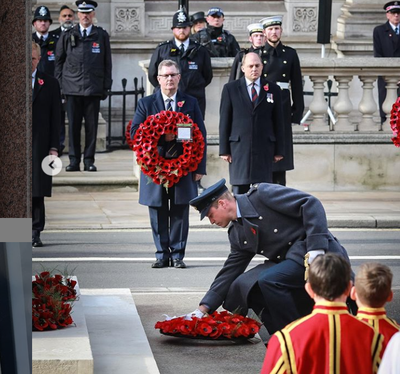 Prince William lays a wreath on Remembrance Sunday, November