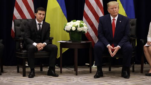 President Donald Trump meets with Ukrainian President Volodymyr Zelenskiy during the United Nations General Assembly. Their phone conversation is at the centre of impeachment proceedings.