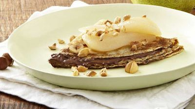 """Recipe:&nbsp;<a href=""""http://kitchen.nine.com.au/2016/05/20/11/02/crepes-with-nutella-poached-pears-and-toasted-hazelnuts"""" target=""""_top"""">Crepes with Nutella, poached pears and toasted hazelnuts</a>"""