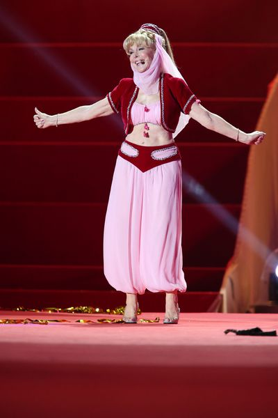 Barbara Eden performs wearing the same costume during the 'Life Ball 2013 - Show' at City Hall on May 25, 2013 in Vienna, Austria.