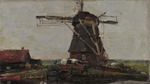 """""""Landscape with a Mill,"""" by Dutch artist Piet Mondrian, was one of the two paintings found by Greek police."""