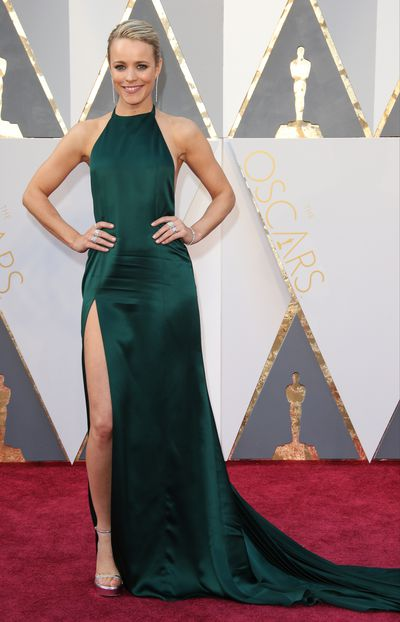 <p>Rachel McAdams in August Getty.</p> <p>McAdams stylists' Rob Zangardi and Mariel Haenn couldn't make up their minds about the impressive train on this gown, originally intended for the after party. It was removed and then added again on the night before the Oscars. </p>