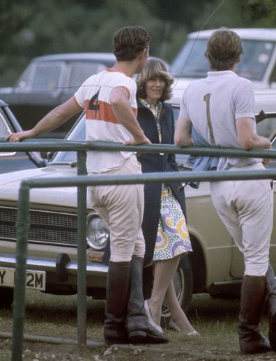 circa 1970: Charles, Prince of Wales and Camilla Parker-Bowles resting after a polo match