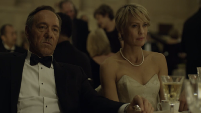 Claire Underwood is always on hand to be at her husband's side at important events, looking picture perfect.