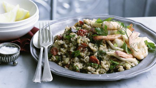 Grilled prawns and calamari with spiced eggplant pilaf
