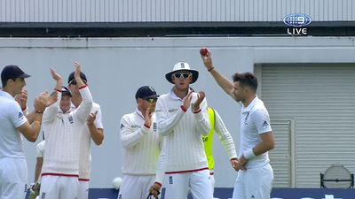 Anderson salutes the crowd after taking his fifth wicket