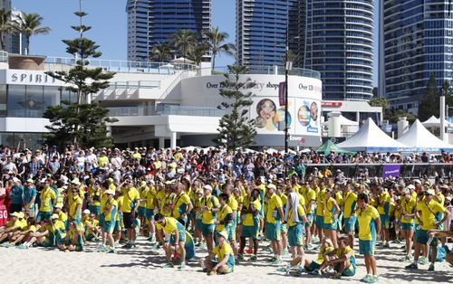 The Aussie athletes were given a massive cheer this morning. (AAP)