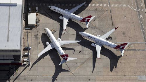 Qantas planes parked on the tarmac.