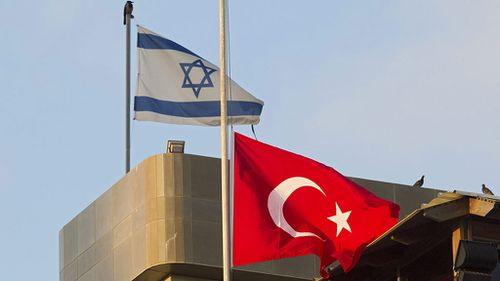 The Turkish Embassy in Tel Aviv is being flown at half-mast. (AAP)