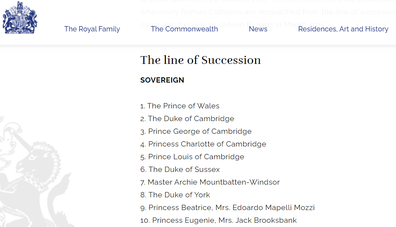 The royal family line of succession according to royal.uk
