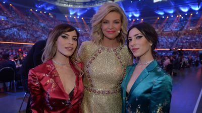 Host Rebecca Maddern with The Veronicas. (Supplied)
