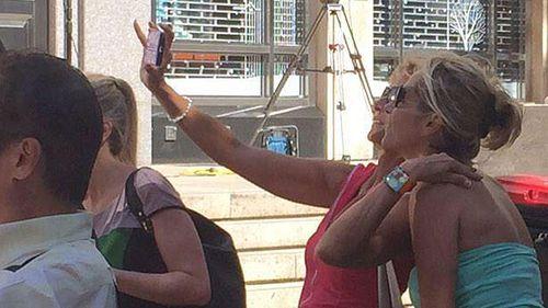 Two friends take a selfie near Martin Place siege.