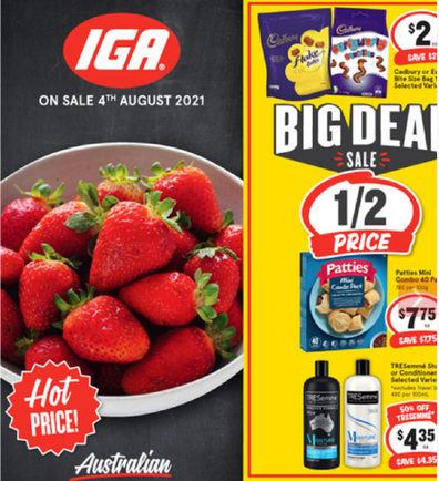 IGA has a great selection of snack items on sale.