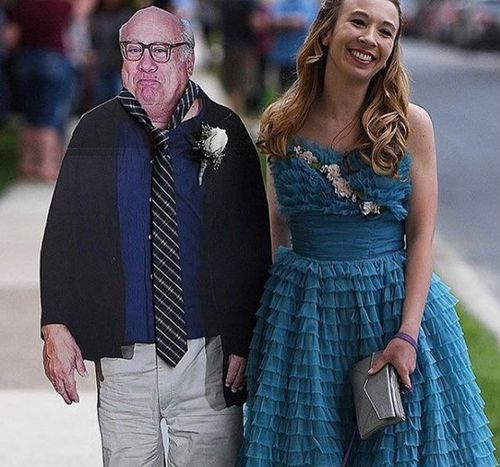 Allison Closs took a life-size cut-out of Danny DeVito to her high school prom. (Supplied)