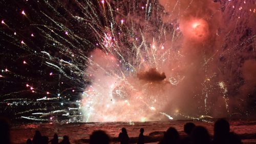 A barge containing fireworks exploded in Terrigal. (Twitter)