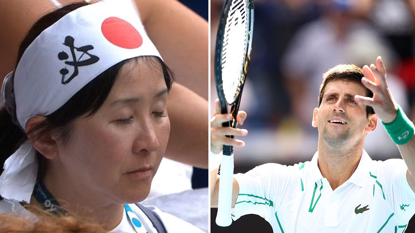 Fan falls asleep during Novak Djokovic's match with Yoshihito Nishioka