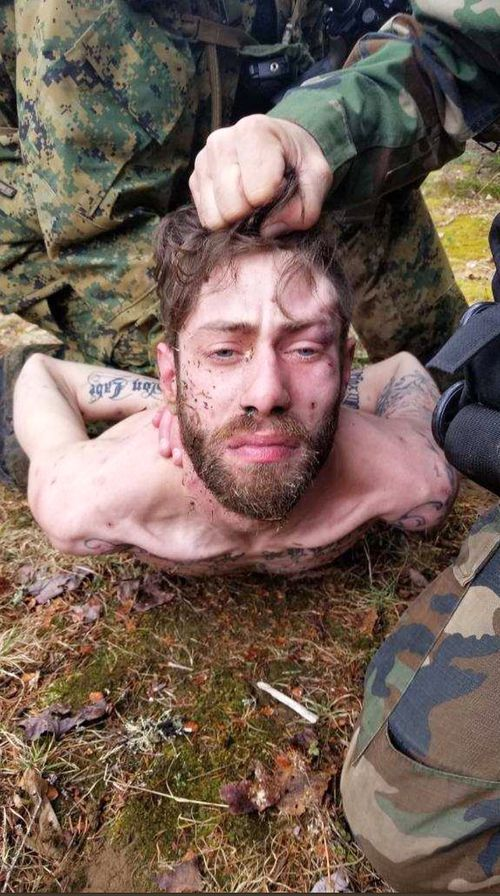 John Williams was arrested in the woods in Maine after a four-day manhunt. (AAP)