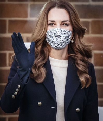 Kate wearing a face mask and waving as she left the Batley Community Centre, West Yorkshire during the recent Royal Train Tour in December