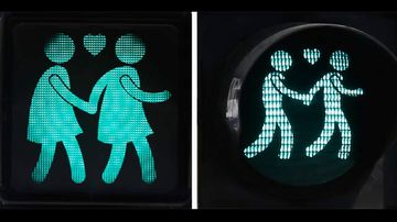 <p>Crossing the road in Vienna is now a happy and colourful undertaking. </p><p> The Austrian capital has installed new crossing lights that celebrate peoples' relationships of all types. </p><p> What have long been depicted as lone stickmen of red and green have become gay, lesbian and straight couples as well as single women. </p><p> The crossing-light couples embrace each other as they wait to walk and lovingly hold hands as they venture out onto the road. </p><p> Their installations at 47 crossings throughout Vienna are intended to promote a number of ideas of tolerance and coincide with the Eurovision Song Contest the will be hosted in the city later this month; Austrian cross-dressing diva Conchita Wurst took the top gong last year. </p><p> Take a click through the colourful crossings. (Photos via AFP)</p>