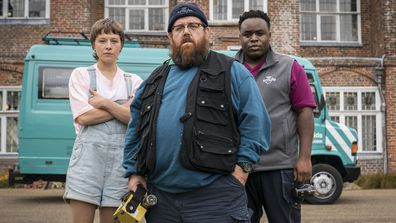 Nick Frost (centre), Emma D'Arcy (left) and  Samson Kayo (right) in Truth Seekers