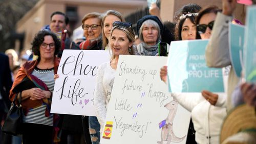Anti-abortion protesters outside NSW Parliament today.