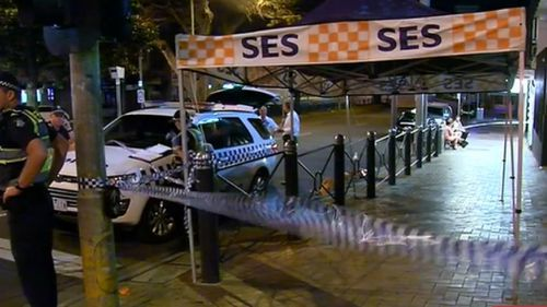 Emergency services outside the pub on the night of November 25. (9NEWS)