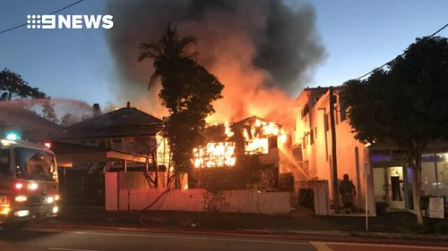 The street was closed due to the ferocity of the blaze. Picture: 9NEWS